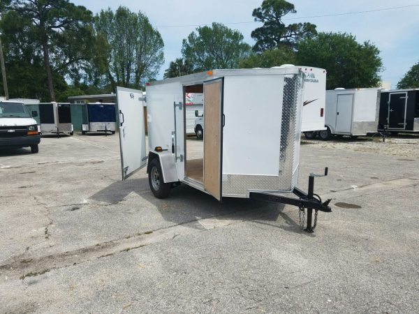 5x8 SA Trailer - White, Single Door, Side Door