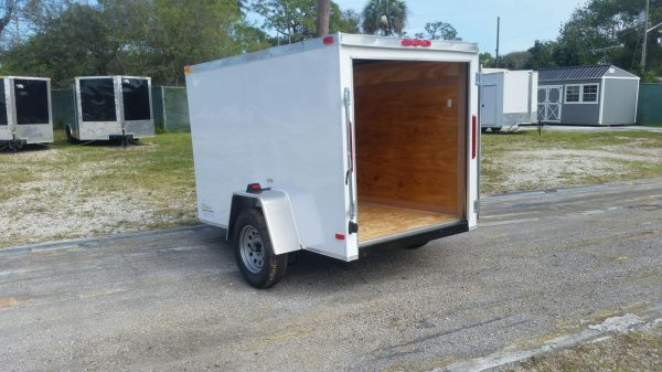 5x8 SA Trailer - White, Single Door