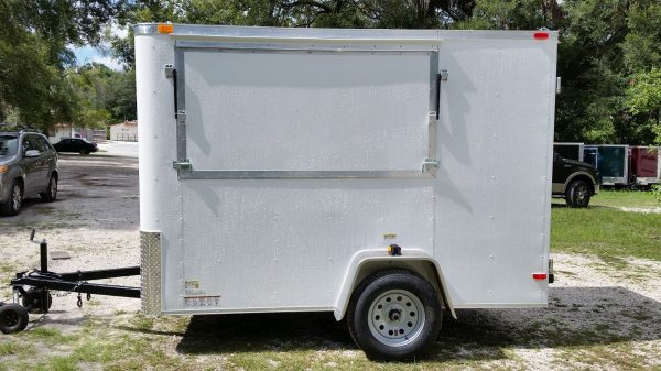 6x10 SA Concession Trailer - White, Double Doors, Side Door, Extra Height, Flat Front