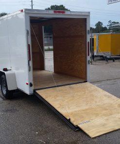 6x10 SA Trailer - White, Ramp, Side Door