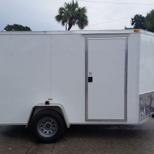 6x10 SA Trailer - White, Ramp, Side Door