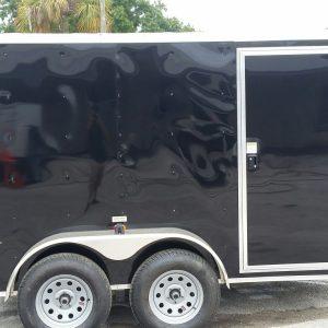Custom 6x10 TA Trailer - Black, Ramp, Side Door, Electrical Package, Side Vents, D-Rings