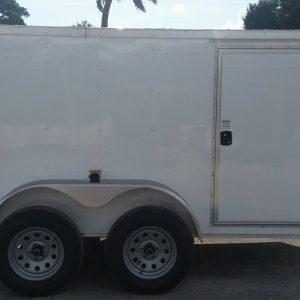 Custom 6x10 TA Trailer - White, Double Doors, Side Door, Decreased Height, Side Vents
