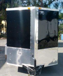 6x12 SA Trailer - Black, Double Doors, Side Door