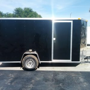 6x12 SA Trailer - Black, Double Doors, Side Door