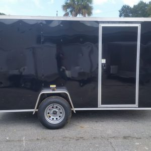 6x12 SA Trailer - Black, Ramp, Side Door, and D-Rings