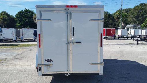 6x12 SA Trailer - White, Double Doors, Side Door