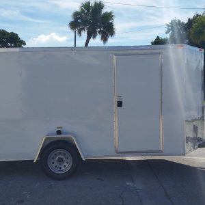 6x12 SA Trailer - White, Double Doors, Side Door