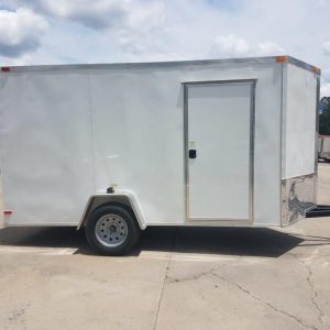6x12 SA Trailer - White, Ramp, Side Door, Extra Height, Extended Tongue, E-Track