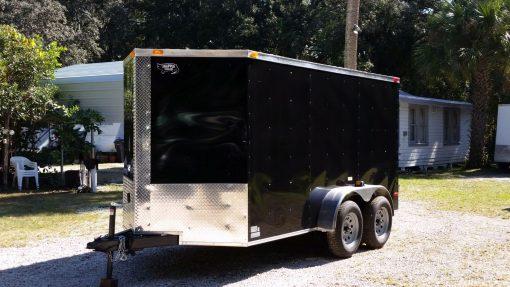 6x12 TA Trailer - Black, Double Doors, Side Door