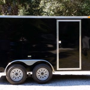 6x12 TA Trailer - Black, Double Doors, Side Door