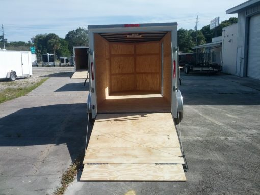 6x12 TA Trailer - White, Ramp, Side Door
