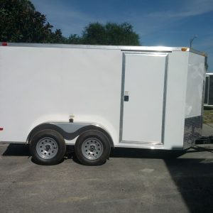6x12 TA Trailer - White, Ramp, Side Door
