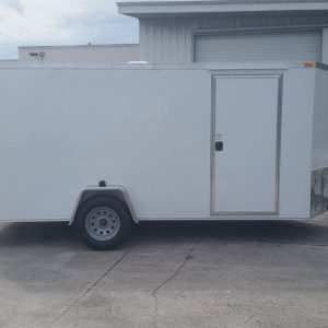 6x14 SA Trailer - White, Ramp, Side Door