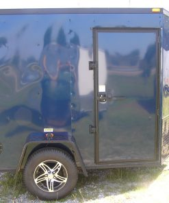 6x8 SA Trailer - Blue, Double Barn Doors, Side Door, Blackout Package, Extra Height, Stabilizer Jacks