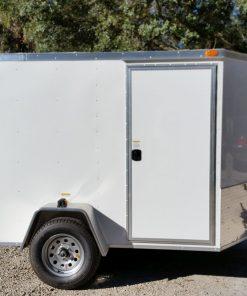 6x8 SA Trailer - White, Double Barn Doors, Side Door