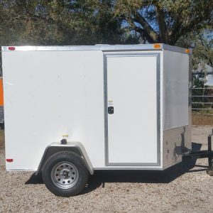 6x8 SA Trailer - White, Ramp, Side Door