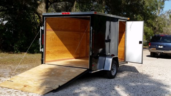 7x10 SA Trailer - Black, Ramp, Side Door