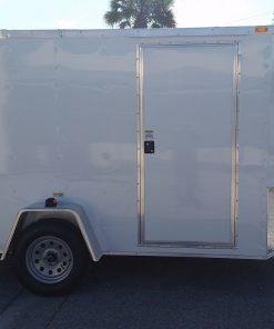 7x10 SA Trailer - White, Ramp, Side Door