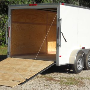 7x12 TA Trailer - White, Ramp, Side Door