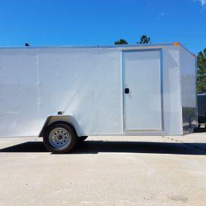 7x14 SA Trailer - White, Barn Doors, Side Door