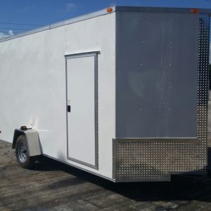 Custom 7x14 SA Trailer - White, Ramp, Side Door, Extra Height, Extra Roof Vent, Stab Jacks