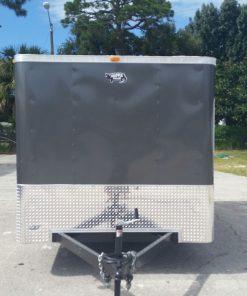 7x14 TA Trailer - Charcoal Gray, Double Doors, Side Door, Flat Front