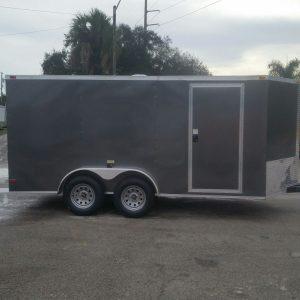 7x14 TA Trailer - Charcoal Grey, Ramp, Side Door