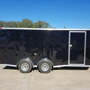 7x16 TA Trailer - Black, Ramp, Side Door, Split Axles