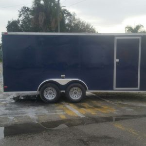 7x16 TA Trailer - Blue, Ramp, Side Door