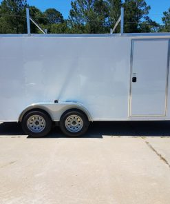 7x16 TA Trailer - White, Double Barn Doors, Side Door, Ladder Racks, Bias