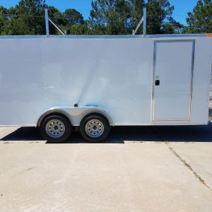 7x16 TA Trailer - White, Double Barn Doors, Side Door, Ladder Racks, Bias