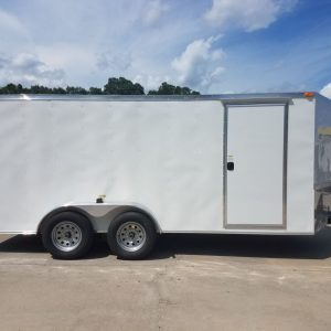 7x16 TA Trailer - White, Double Barn Doors, Side Door, Luan Ceiling, Insultated Walls and Ceiling