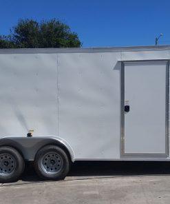 7x16 TA Trailer - White, Dowble Doors, Side Door, Extra Height