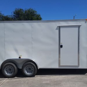 7x16 TA Trailer - White, Dowble Doors, Side Door, Extra Height