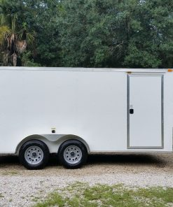 7x16 TA Trailer - White, Ramp, Side Door, Flat Front