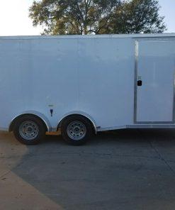 7x16 TA Trailer - White, Ramp, Side Door, Split Axles
