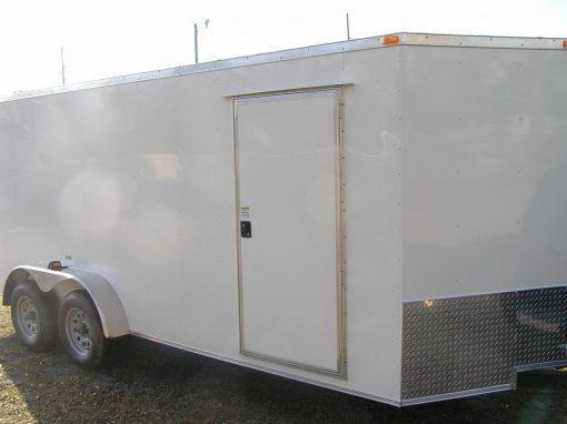 7x18 TA Trailer - White, Ramp, Side Door, Extra Height