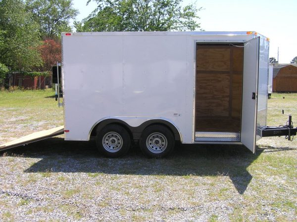 8.5x12 TA Trailer - White, Ramp, Side Door