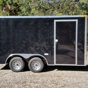 8.5x14 TA Trailer - Black, Ramp, Side Door