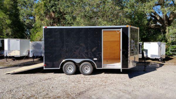 8.5x14 TA Trailer - Black, Ramp, Side Door