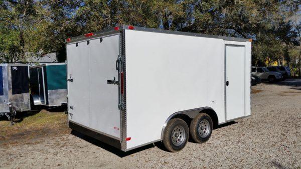 8.5x14 TA Trailer - White, Ramp, Side Door