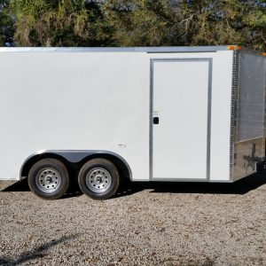 8.5x14 TA Trailer - White, Ramp, Side Door