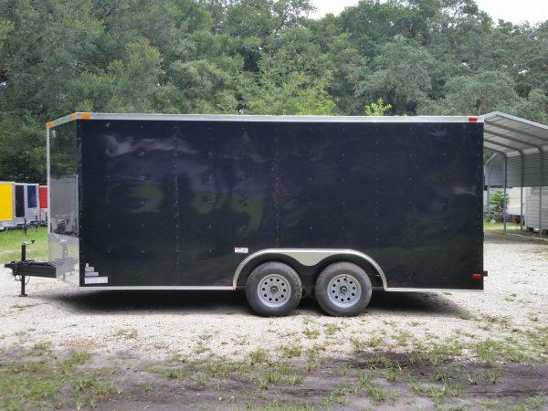 8.5x16 TA Trailer - Black, Ramp, Side Door