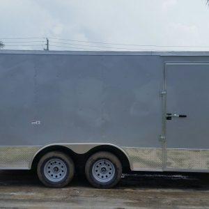 8.5x16 TA Trailer - Silver Frost, Ramp, Side Door, ATP Wrap, D-Rings