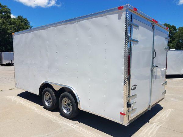 8.5x16 TA Trailer - White, Barn Doors, Side Door