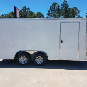 8.5x16 TA Trailer - White, Barn Doors, Side Door