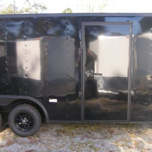 8.5x18 TA Trailer - Black, Ramp, Side Door, Blackout