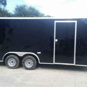 8.5x18 TA Trailer - Black, Ramp, Side Door
