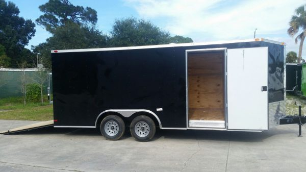 8.5x18 TA Trailer - Black, Ramp, Side Door